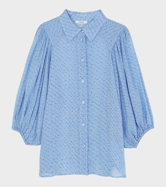 Ganni - Printed Georgette Shirt Sky Blue