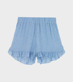 Ganni - Printed Georgette Shorts Sky Blue