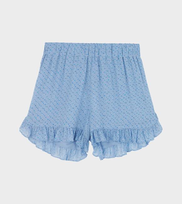 Ganni - Printed Georgette Shorts Sky Blue