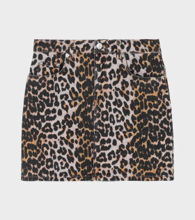 Ganni - Print Denim Skirt Leopard