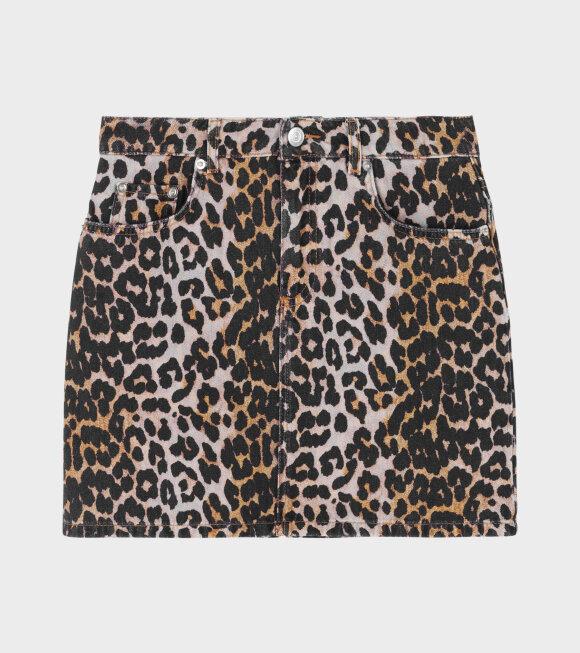Ganni - Print Denim Skirt Leopard