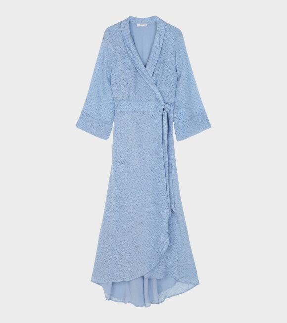 Ganni - Printed Georgette Dress Sky Blue