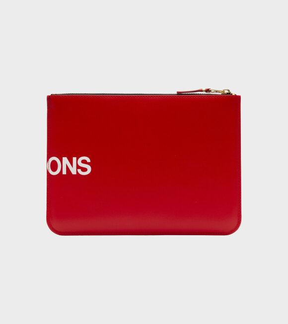 Comme des Garcons Wallet - Clutch Huge Logo Red