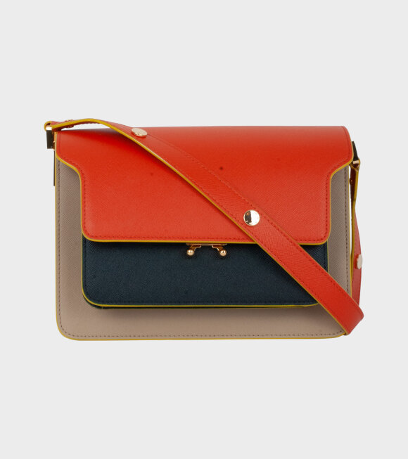 Marni - Medium Trunk Bag Orange/Beige/Black