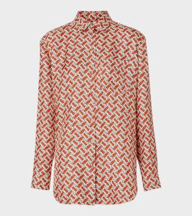 Monogram Print Silk Shirt Red