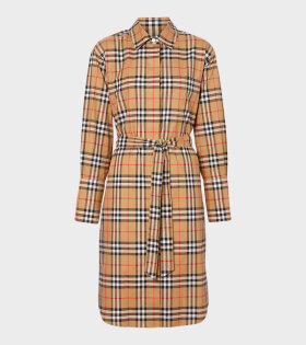 Vintage Check Tie-Waist Dress Brown