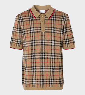 Vintage Check Merino Wool Polo Shirt Brown