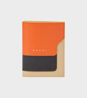 Bi-fold Wallet in Orange/Beige/Black