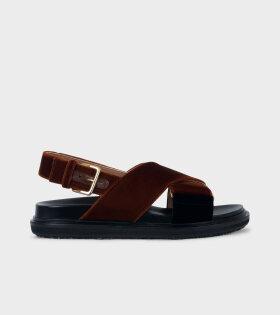 Fussbett Sandal Brown/Black Velvet