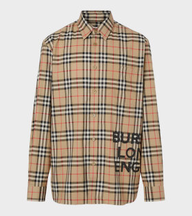 Logo Print Check Cotton Oversized Shirt