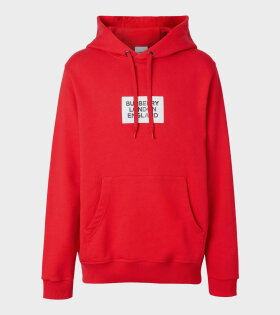 Burberry - Logo Print Cotton Hoodie Red