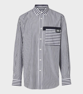 Logo Detail Contrast Stripe Cotton Shirt