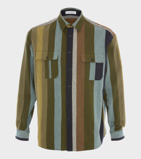 JW Anderson - Flannel Striped Shirt Khaki Multi