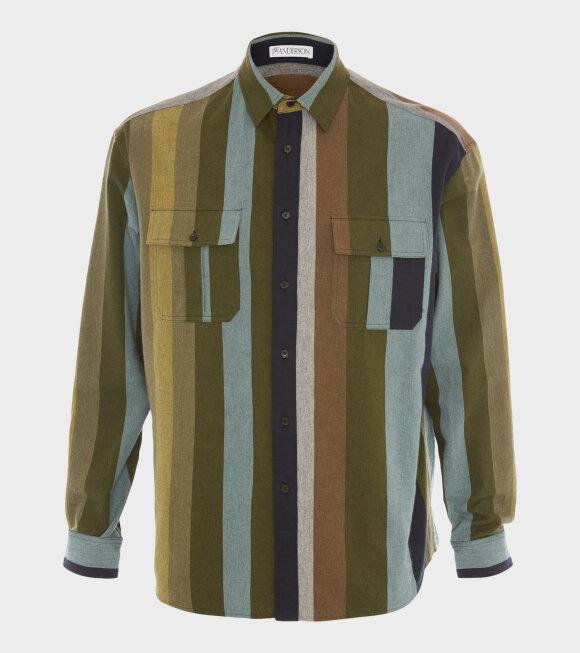 JW Anderson - Flannel Striped Shirt Khaki Multi