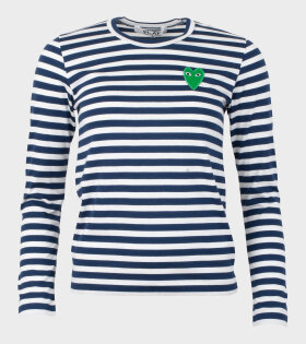 Comme des Garcons PLAY - W Green Heart Striped LS T-shirt Navy