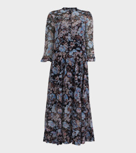 Alexondra Dress Blue Flower Print