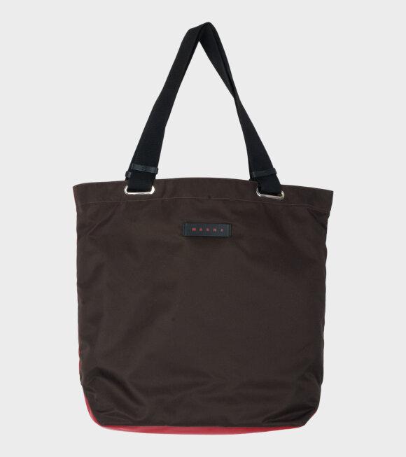 Marni - Color Block Shopping Bag Brown/Red/Mustard