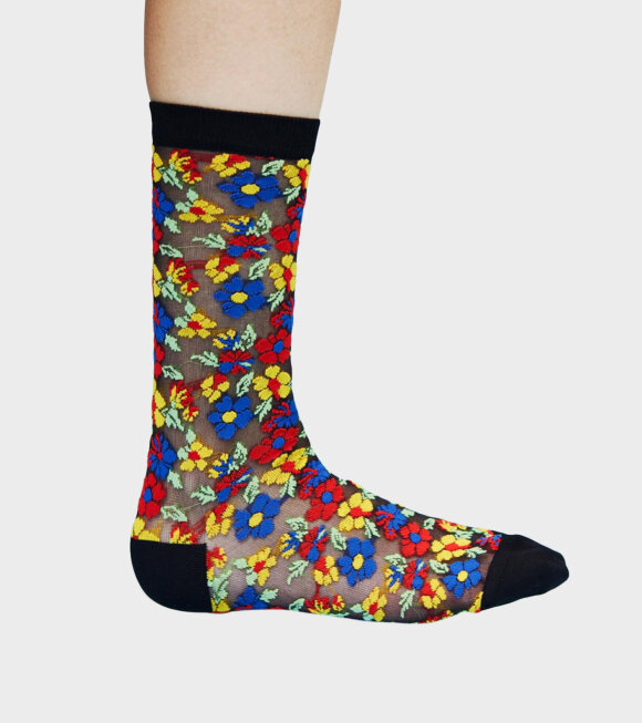 Henrik Vibskov - Flower Socks Femme Black Flower Print
