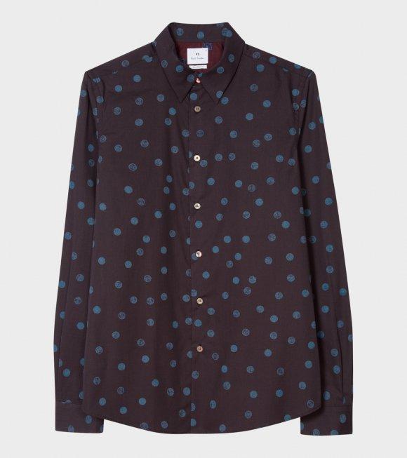 Mens Tailored Shirt Dots Blue