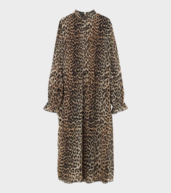 Ganni - Pleated Georgette Dress Leopard Brown