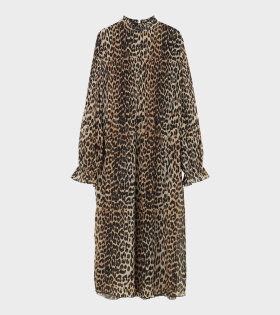 Pleated Georgette Dress Leopard Brown