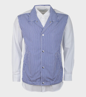 Comme Des Garçons Shirt Longsleeved Two Shirt Blue/White - dr. Adams