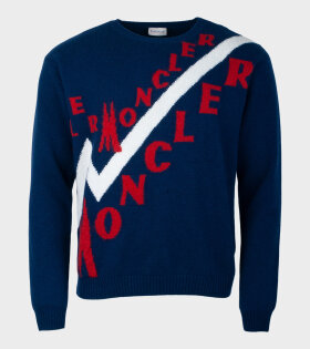 Moncler Maglione Longsleeved Knit Blue - dr. Adams
