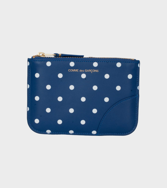 Comme des Garcons Wallet - Polka Dots Printed Wallet Blue