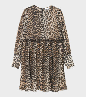 Pleated Georgette Dress Leopard