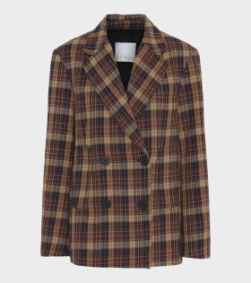 Remain Debbie Jacket Winter Check Brown - dr. Adams