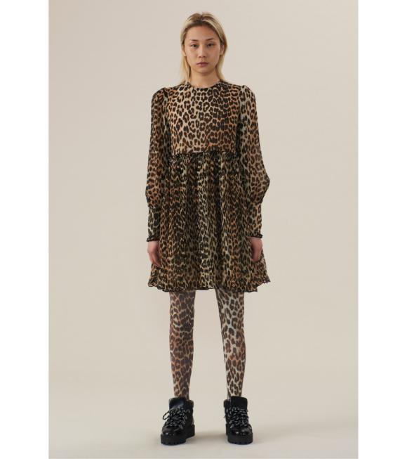 Ganni - Pleated Georgette Dress Leopard