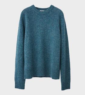Acne Studios Kai Wool Regular Crewneck Sweater Mineral Blue Melange - dr. Adams