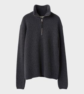 Acne Studios Korman Sporty Zip-up Wool Sweater Dark Grey Melange - dr. Adams