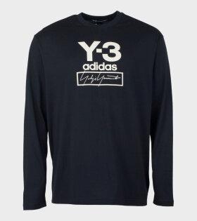 Y-3 Adidas Long Sleeve Logo Shirt Black - dr. Adams
