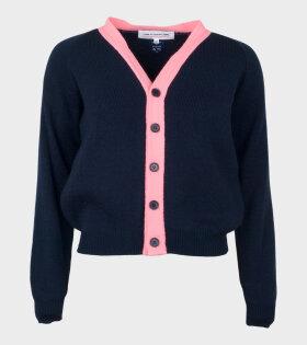 Comme Des Garçons Girl Knit Cardigan Blue/Pink - dr. Adams