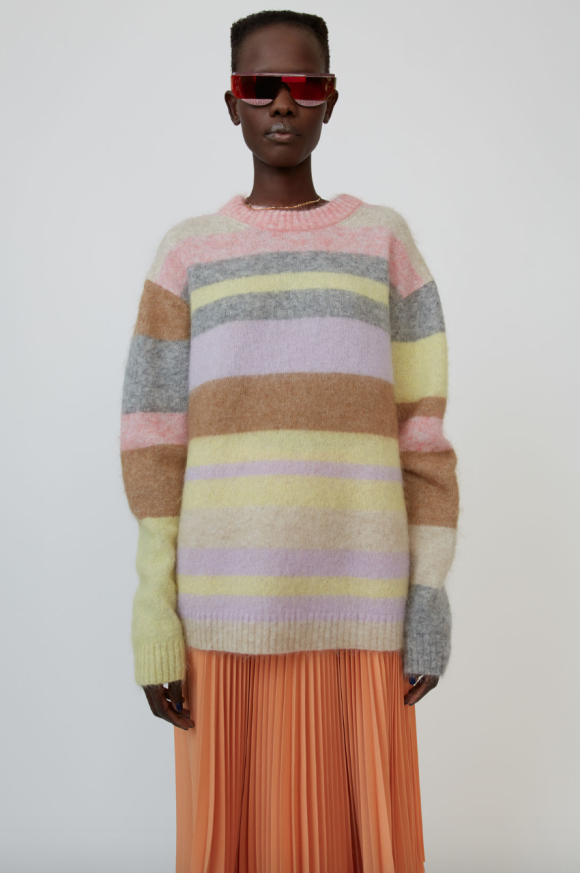 Acne Studios - Kalbah Moh Oversized Striped Sweater Lilac/Yellow Multi