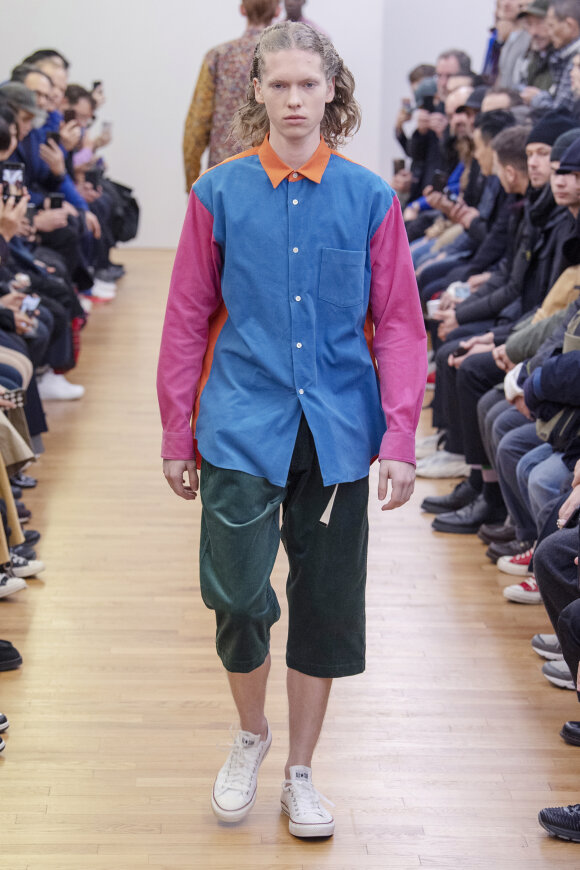 Comme des Garcons Shirt - Long Sleeve Shirt Blue/Pink/Orange
