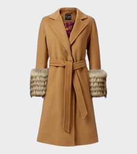 Oh! by Kopenhagen Fur Priya Long Coat Brown - dr. Adams