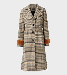Oh! by Kopenhagen Fur Drew Long Coat Check Brown - dr. Adams