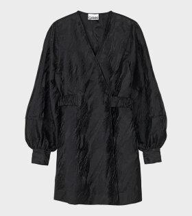 Jacquard Wrap Dress Black