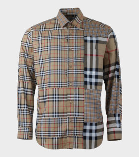 Burberry Classic Fit Patchwork Chalkstone Arhive Shirt Beige - dr. Adams