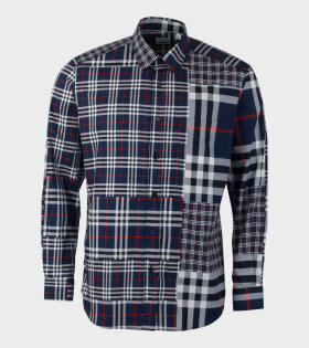 Burberry Classic Fit Patchwork Check Chalkstone Shirt Navy - dr. Adams