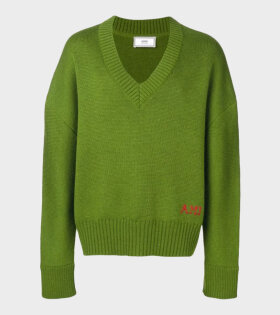Embroidery Oversize Sweater Green