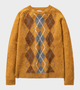 Birnir Brushed Argyle Knitwear Yellow