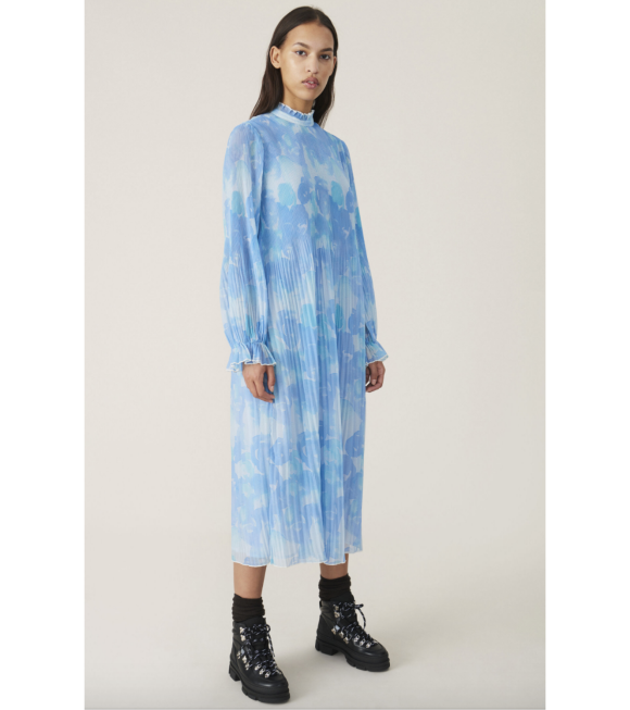 Ganni - Pleated Georgette Dress Gray Down Blue