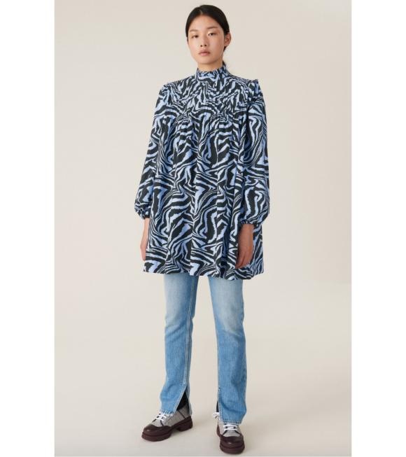 Ganni - Printed Cotton Poplin Dress Blue/Black