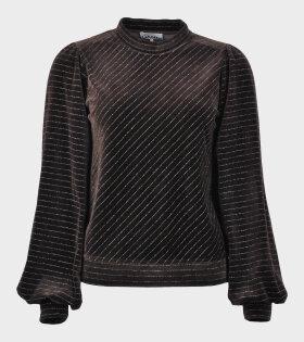 Velvet Lurex Puff Sweatshirt Brown