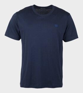Acne Studios Nash Face T-shirt Navy - dr. Adams
