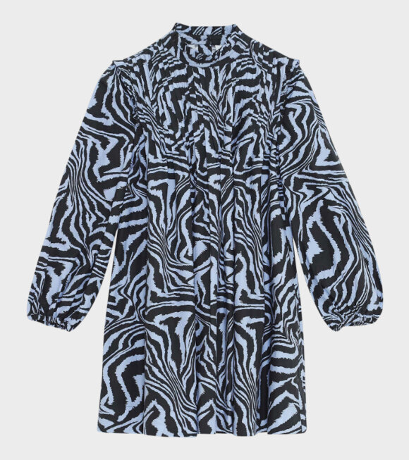 Ganni - Printed Cotton Poplin Dress Blue/Black