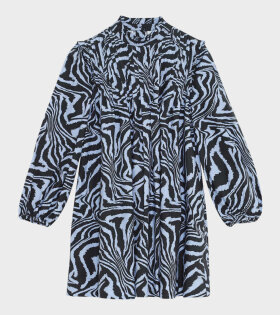 Printed Cotton Poplin Dress Blue/Black